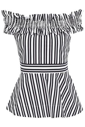 KATE SPADE New York Off-the-shoulder striped cotton-blend top