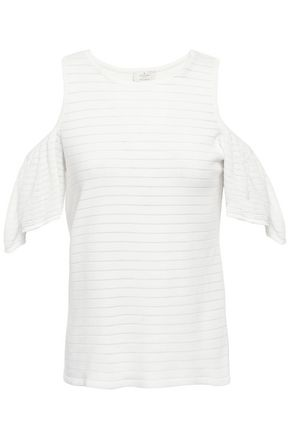 KATE SPADE New York Cold-shoulder crochet-paneled cotton-blend top