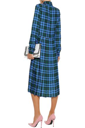 MSGM Pussy-bow pleated checked crepe midi shirt dress