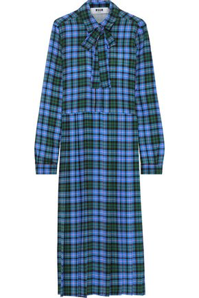 MSGM Pussy-bow checked crepe midi shirt dress