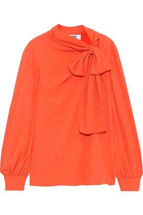 MSGM Pussy-bow jacquard blouse