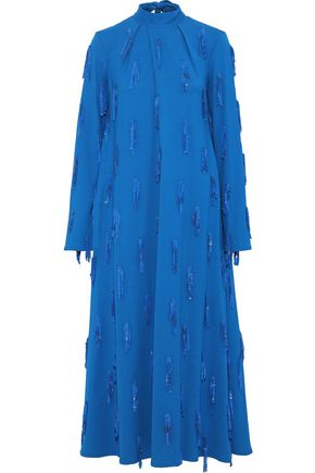 MSGM Tie-neck sequin-embellished crepe midi dress