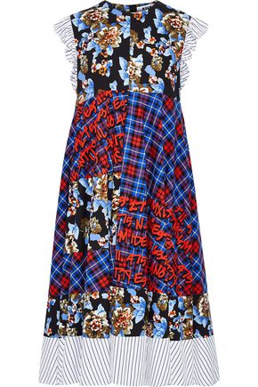 MSGM Printed cotton-poplin midi dress
