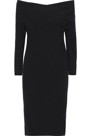 MICHELLE MASON Off-the-shoulder paneled ribbed-knit dress