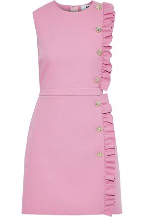 MSGM Button-embellished ruffle-trimmed crepe mini dress