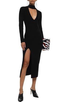 Michelle Mason MICHELLE MASON WOMAN CUTOUT RIBBED WOOL AND CASHMERE-BLEND MIDI DRESS BLACK