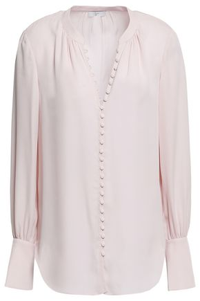 JOIE Button--detailed silk-crepe shirt
