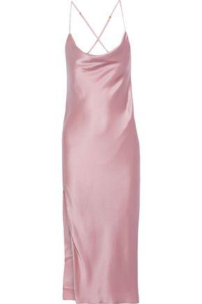 MICHELLE MASON Draped silk midi slip dress