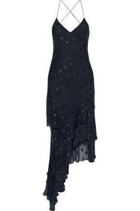 MICHELLE MASON Asymmetric fil coupé silk-blend midi slip dress