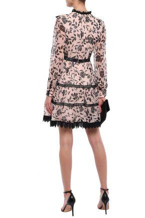 KATE SPADE New York Lace-trimmed floral-print silk-georgette mini dress