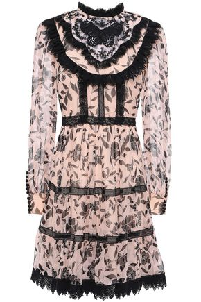 KATE SPADE New York Lace-trimmed floral-print silk-georgette mini dress