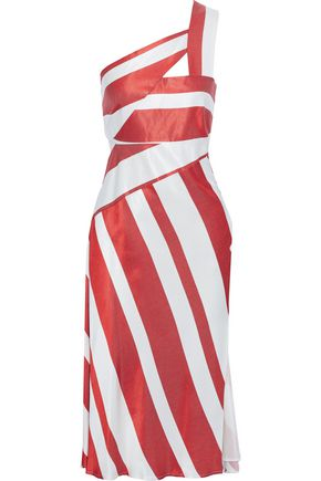 MICHELLE MASON One-shoulder cutout striped satin midi dress