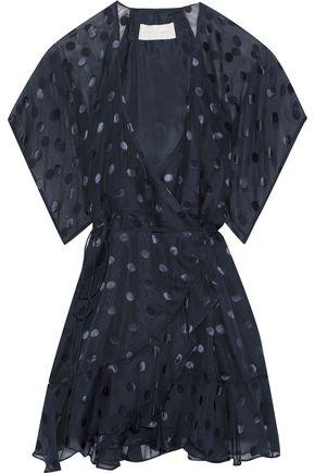 MICHELLE MASON Fil coupé silk-blend chiffon mini wrap dress