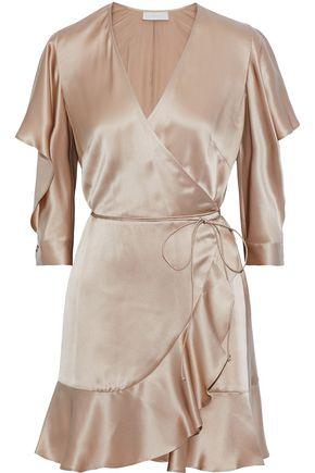 MICHELLE MASON Ruffle-trimmed cutout silk mini wrap dress