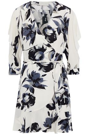 MICHELLE MASON Ruffle-trimmed cutout silk mini wrap dress