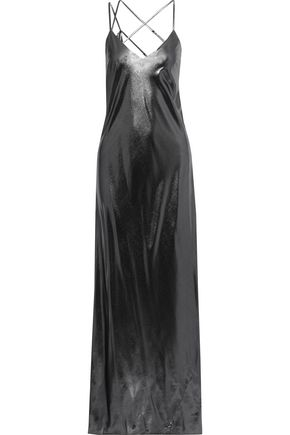 MICHELLE MASON Draped lamé gown