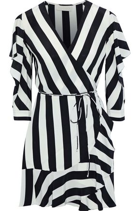 MICHELLE MASON Cutout striped washed-silk mini wrap dress