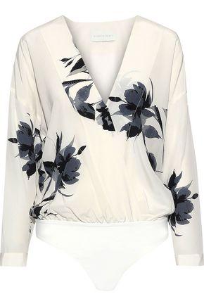 MICHELLE MASON Wrap-effect printed silk crepe de chine bodysuit