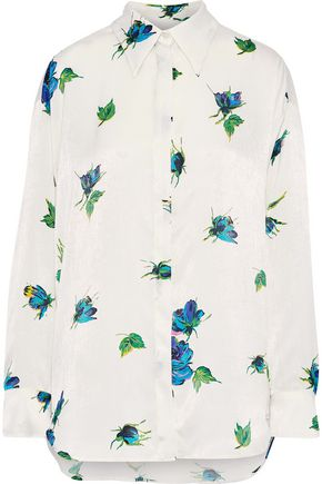 MSGM Floral-print textured-satin shirt