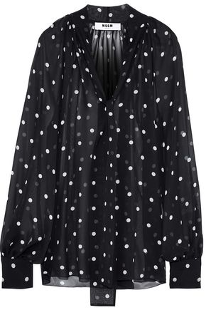 MSGM Tie-neck polka-dot silk-chiffon blouse