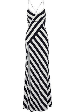 MICHELLE MASON Wrap-effect open-back printed washed-silk gown