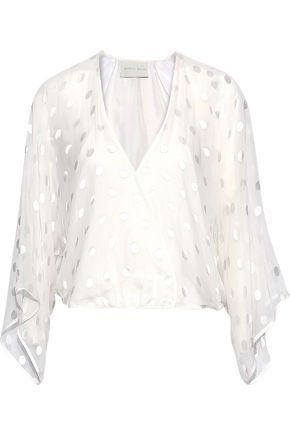 MICHELLE MASON Wrap-effect polka-dot silk-blend jacquard blouse