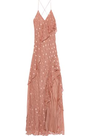 MICHELLE MASON Ruffled silk-blend fil coupé chiffon gown