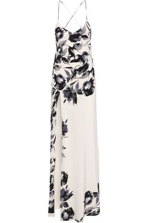MICHELLE MASON Bias open-back floral-print silk crepe de chine gown