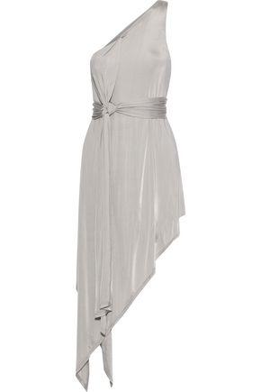 MICHELLE MASON Asymmetric one-shoulder satin-jersey dress