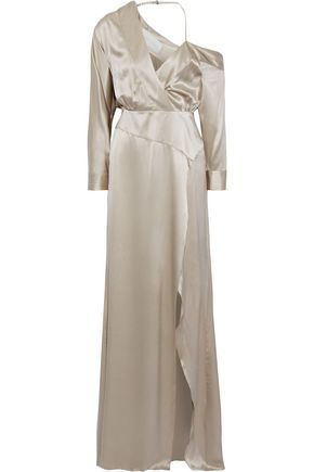 MICHELLE MASON Asymmetric wrap-effect silk-satin gown