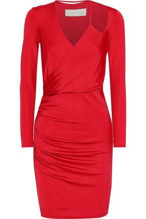 MICHELLE MASON Wrap-effect ruched satin-jersey mini dress