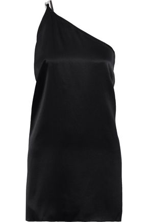 MICHELLE MASON One-shoulder chain-trimmed silk-satin mini dress
