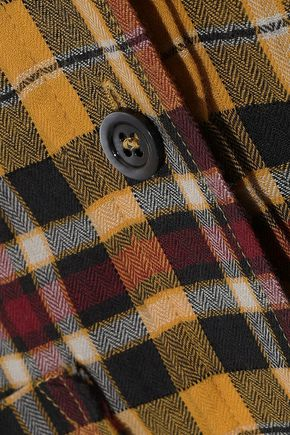 FAITH CONNEXION Frayed checked cotton-blend flannel shirt