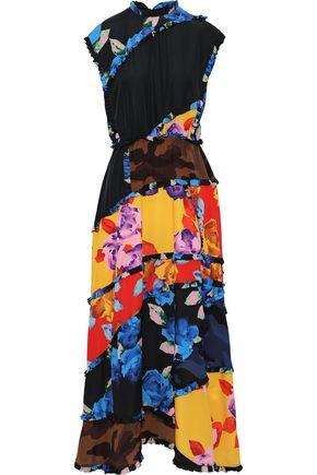 MSGM Ruffle-trimmed patchwork floral-print crepe de chine maxi dress