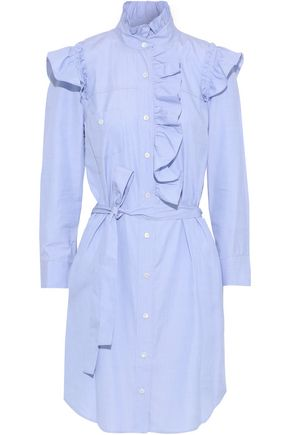 G. LABEL Nancy ruffle-trimmed cotton-poplin mini shirt dress