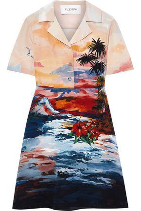 VALENTINO Printed silk crepe de chine mini shirt dress