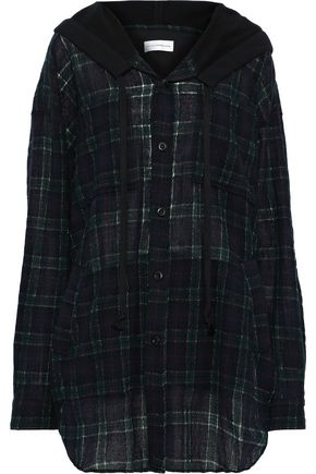 FAITH CONNEXION French terry-paneled checked wool-blend hooded top