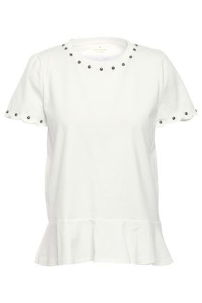 KATE SPADE New York Fluted studded cotton-jersey top