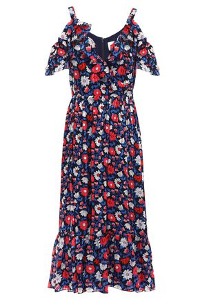 KATE SPADE New York Cold-shoulder floral-print silk-satin midi dress