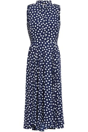 KATE SPADE New York Ruched printed crepe  midi dress