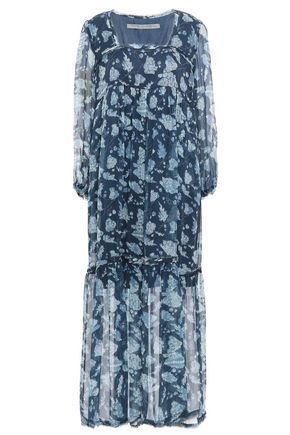 RAQUEL ALLEGRA Gathered printed silk-georgette midi dress