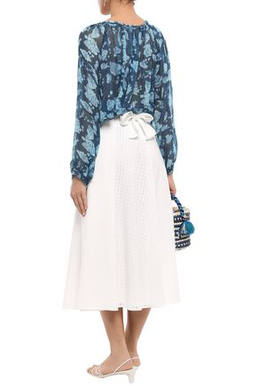 RAQUEL ALLEGRA Gathered printed silk-georgette blouse