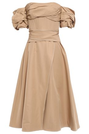 RACHEL GILBERT Cher wrap-effect off-the-shoulder cotton and silk-blend midi dress