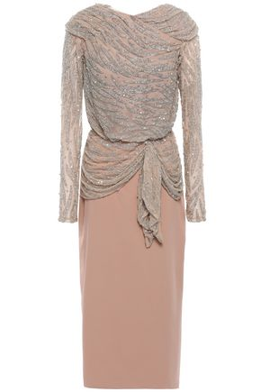 RACHEL GILBERT Ruched embellished tulle and crepe midi dress