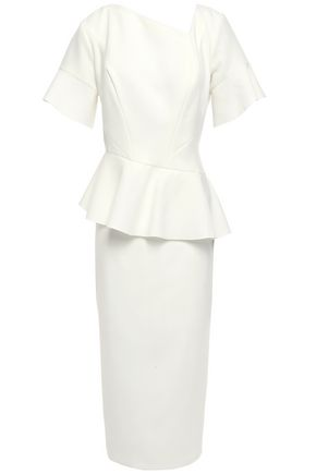RACHEL GILBERT Farah ruffled stretch-crepe peplum midi dress