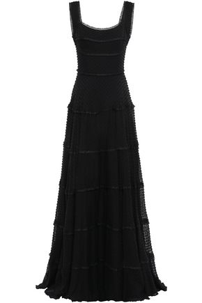 RACHEL GILBERT Fringe-trimmed fil coupé silk and cotton-blend gown
