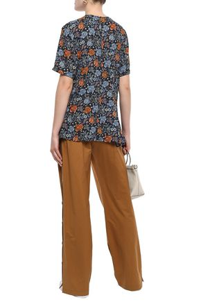 ACNE STUDIOS Pintucked floral-print crepe blouse