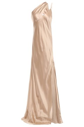 MICHELLE MASON One-shoulder cutout draped silk-charmeuse gown