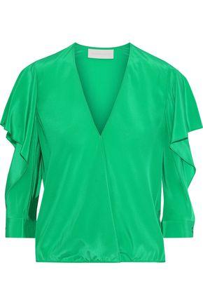 MICHELLE MASON Wrap-effect ruffle-trimmed cutout silk blouse