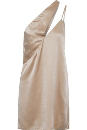 MICHELLE MASON One-shoulder cutout silk-charmeuse mini dress